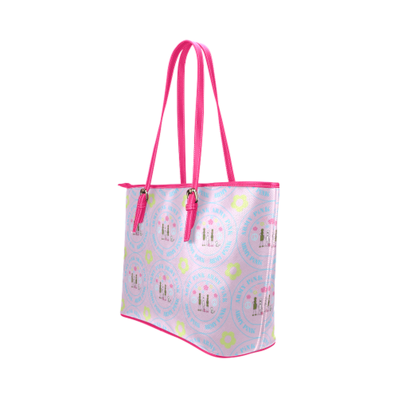 Logo print on violet Leather Tote Bag/Small (Model 1651) for  at ARMY PINK
