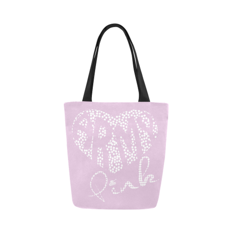 Lilac dot heart Canvas Tote Bag ${product-type) ${shop-name)