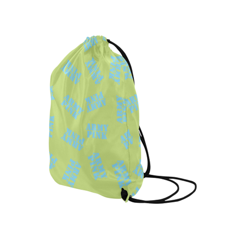 "Blue stamps on green Medium Drawstring Bag Model 1604 (Twin Sides) 13.8""(W) * 18.1""(H) for  at ARMY PINK"