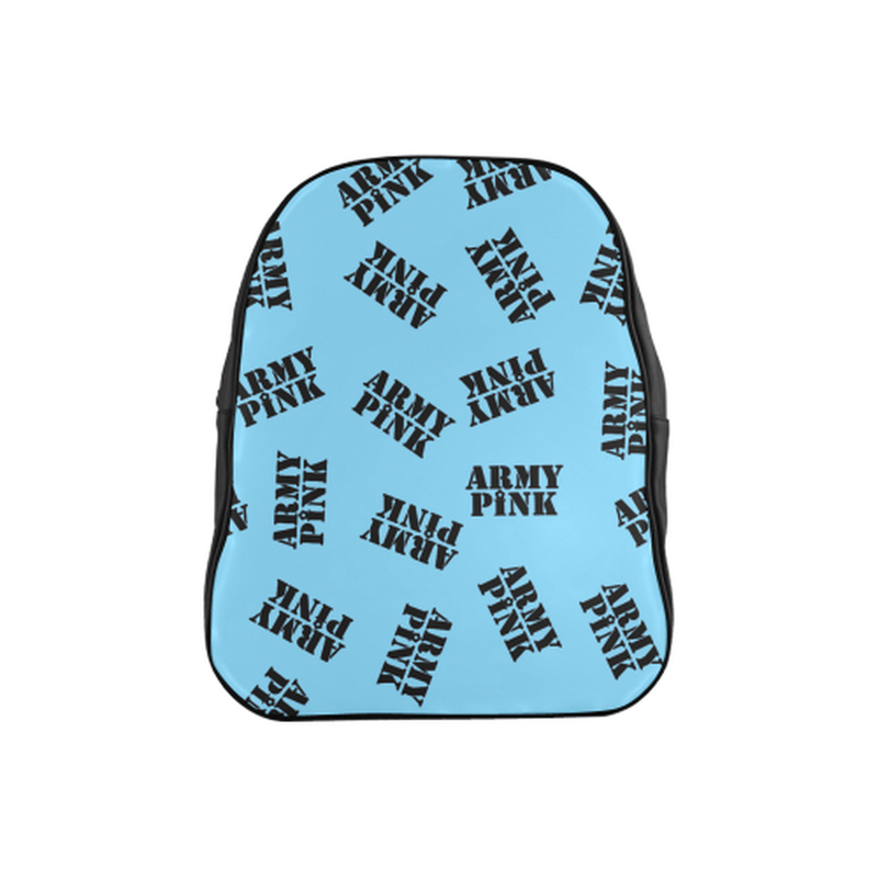 Black stamps on blue School Backpack (Model 1601)(Medium) for  at ARMY PINK