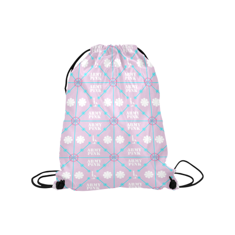 "Diamond logo on lilac Medium Drawstring Bag Model 1604 (Twin Sides) 13.8""(W) * 18.1""(H) for  at ARMY PINK"