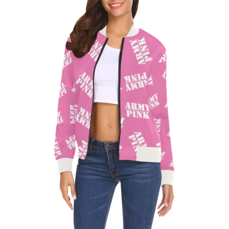 White stamp pink Bomber Jacket for 55.00 at ARMY PINK