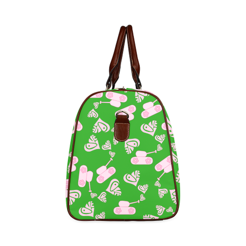 large travel bag light pink love tank on green Waterproof Travel Bag/Large (Model 1639) for  at ARMY PINK