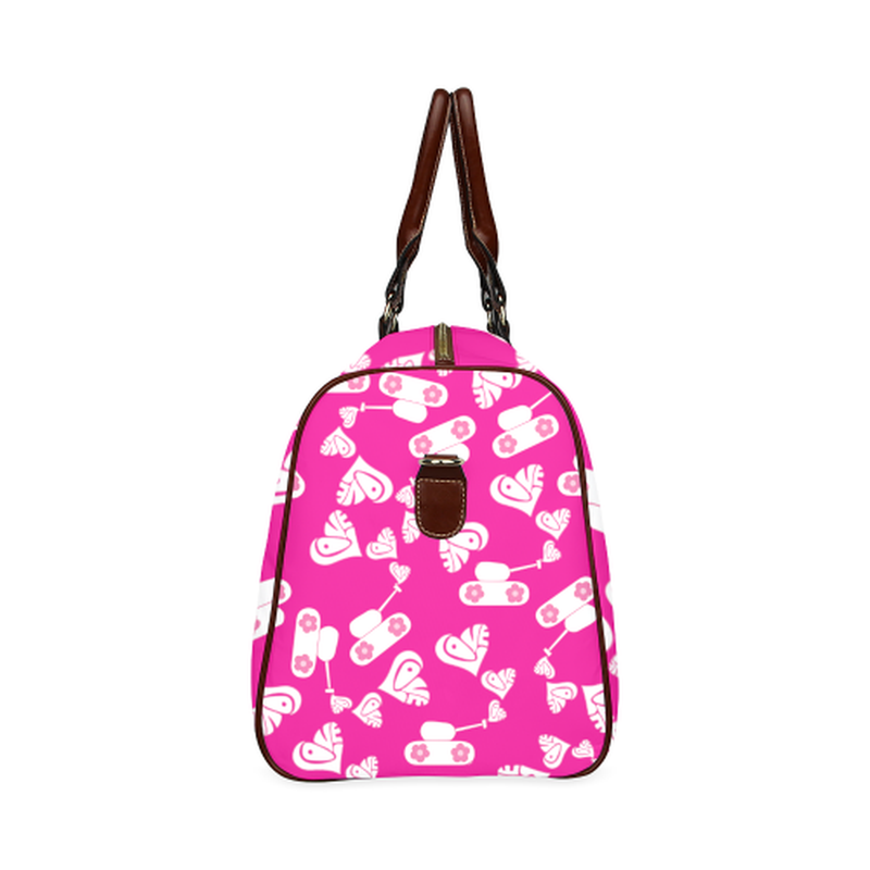small travel bag whute love tank on pink Waterproof Travel Bag/Small (Model 1639) for  at ARMY PINK