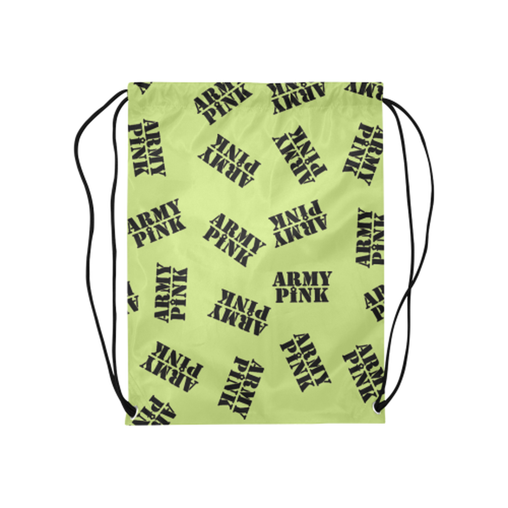 Green black stamp Drawstring Bag for  at ARMY PINK