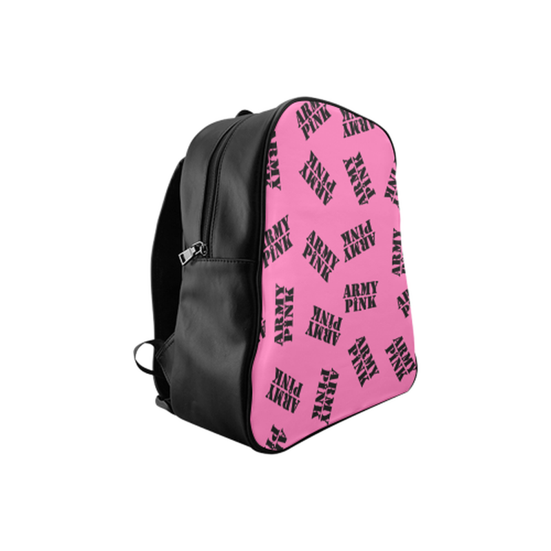 Black stamps on pink School Backpack (Model 1601)(Medium) for  at ARMY PINK