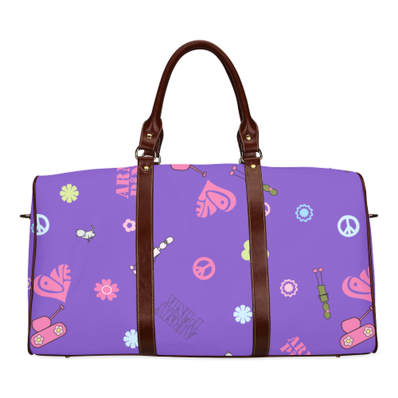 small travel bag logo aop on purple Waterproof Travel Bag/Small (Model 1639) for  at ARMY PINK