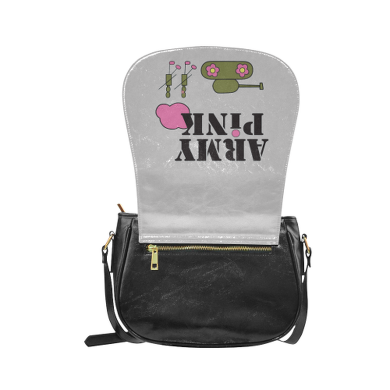 Logo on gray Classic Saddle Bag/Small (Model 1648) for  at ARMY PINK