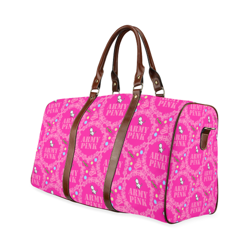 large travel bag pink wreath aop on pink Waterproof Travel Bag/Large (Model 1639) for  at ARMY PINK