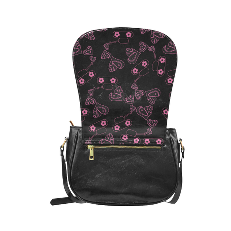 Love tanks in pink on black Classic Saddle Bag/Small (Model 1648) for  at ARMY PINK