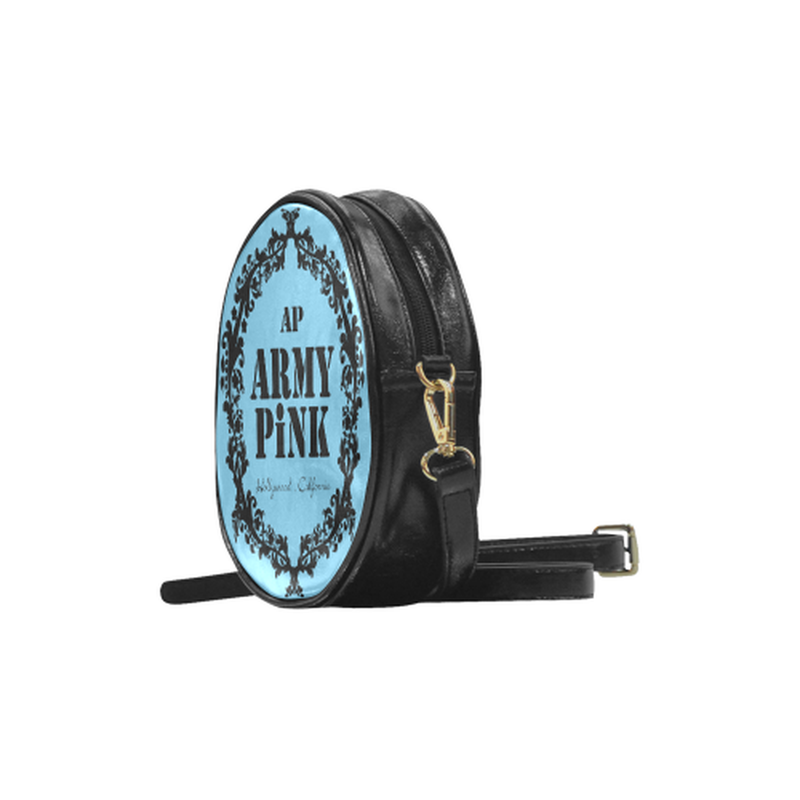 Blue black wreath Round Sling Bag for  at ARMY PINK