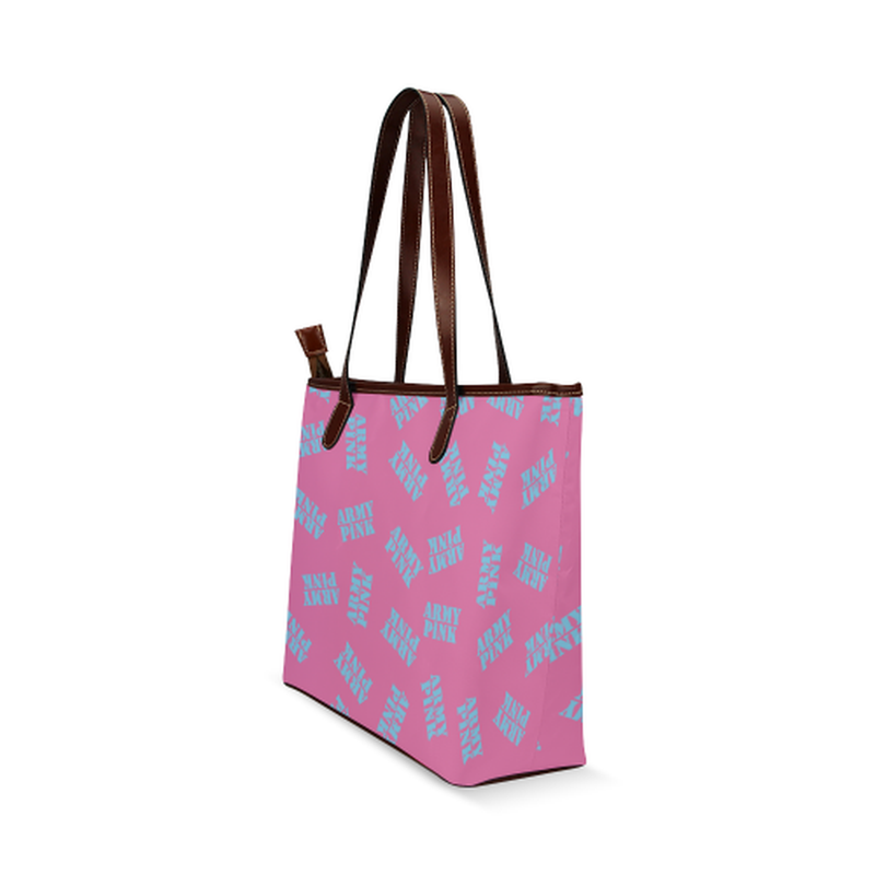 Blue stamps on pink Shoulder Tote Bag (Model 1646) for  at ARMY PINK