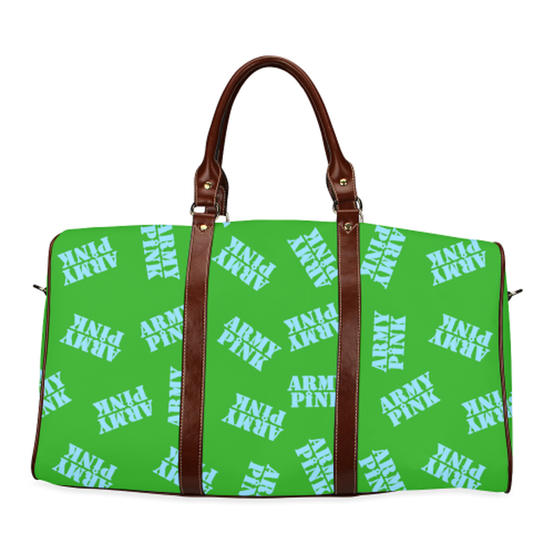 large travel bag blue army pink stamp on green Waterproof Travel Bag/Large (Model 1639) for  at ARMY PINK
