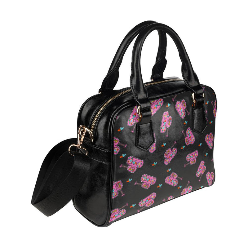 Black shoulder handbag with tank heart print for  at ARMY PINK