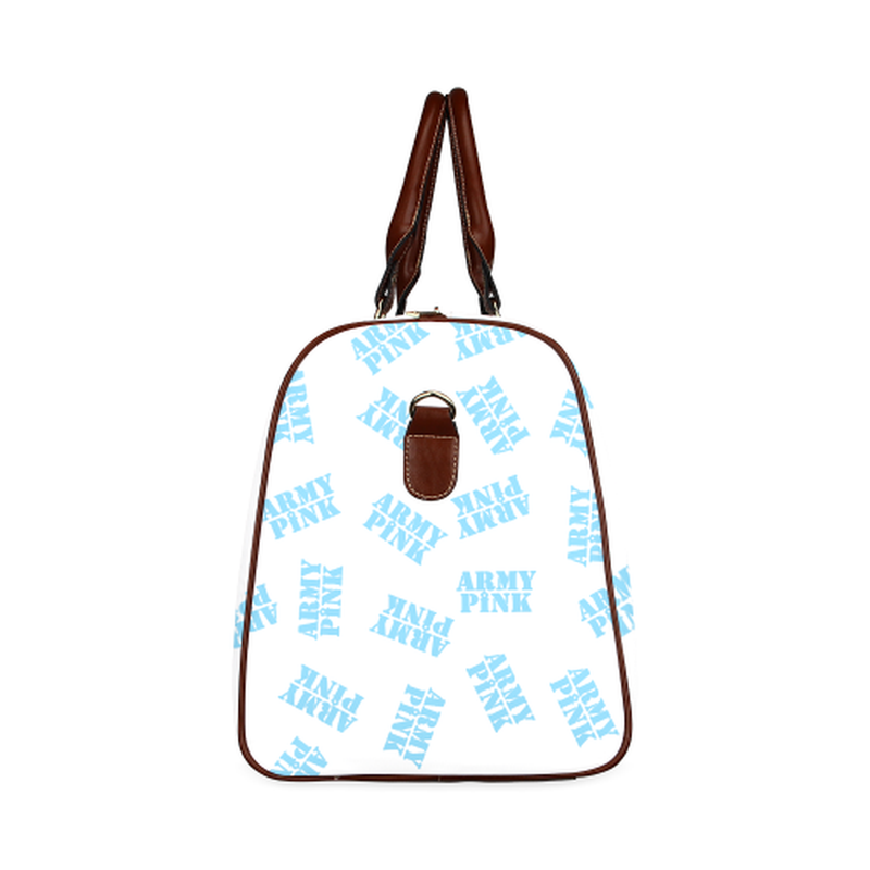 small travel bag blue army pink stamp on white Waterproof Travel Bag/Small (Model 1639) for  at ARMY PINK