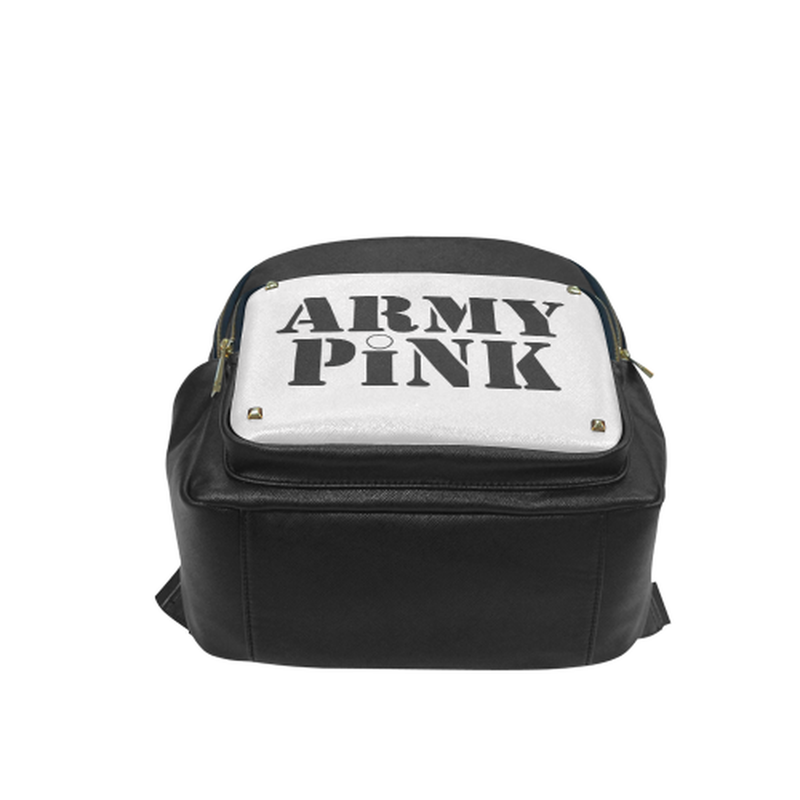 Gray Army Pink Small Leather Backpack for  at ARMY PINK