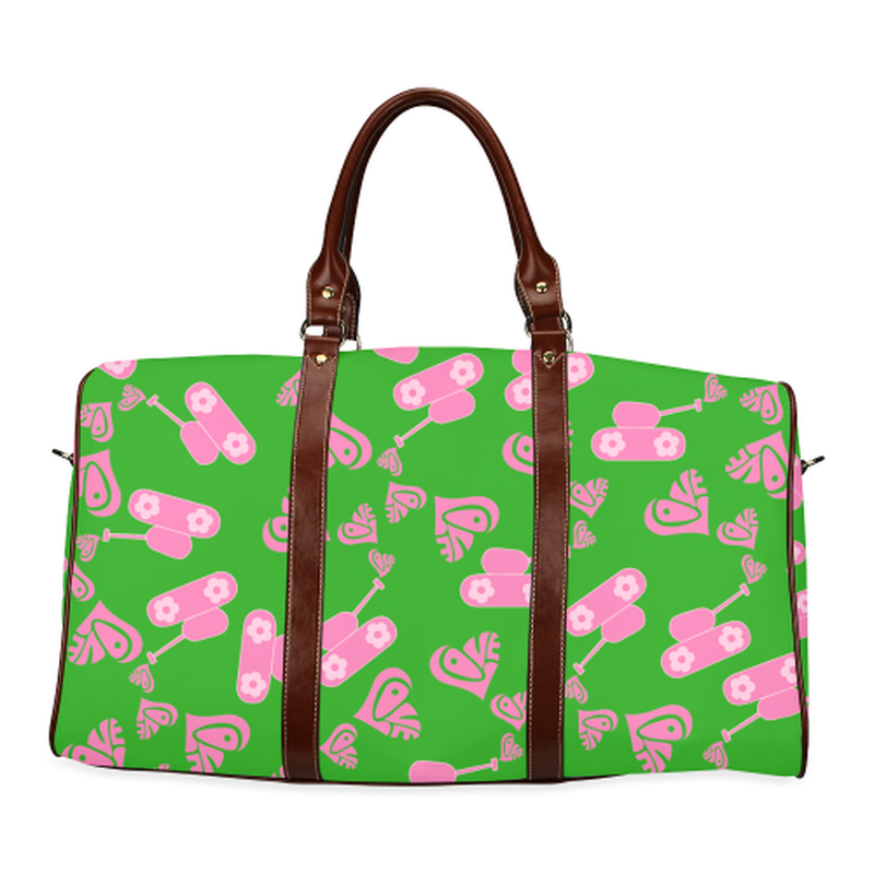 large travel bag pink love tank on green Waterproof Travel Bag/Large (Model 1639) for  at ARMY PINK