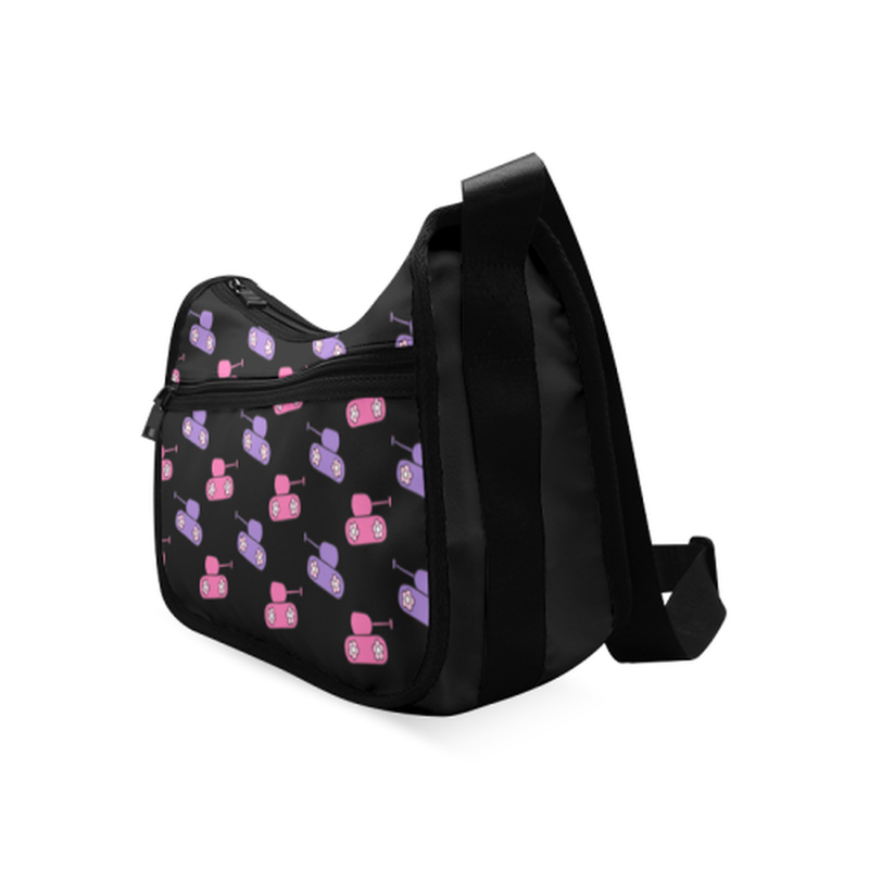 Pink and purple tanks on black Crossbody Bags (Model 1616) for  at ARMY PINK