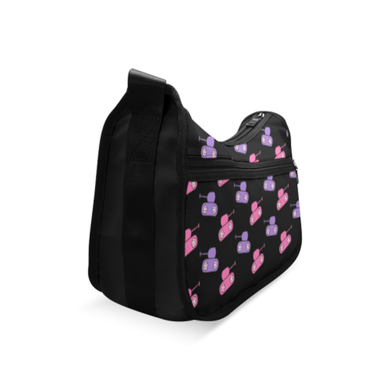 Pink and purple tanks on black Crossbody Bags (Model 1616) ${product-type) ${shop-name)