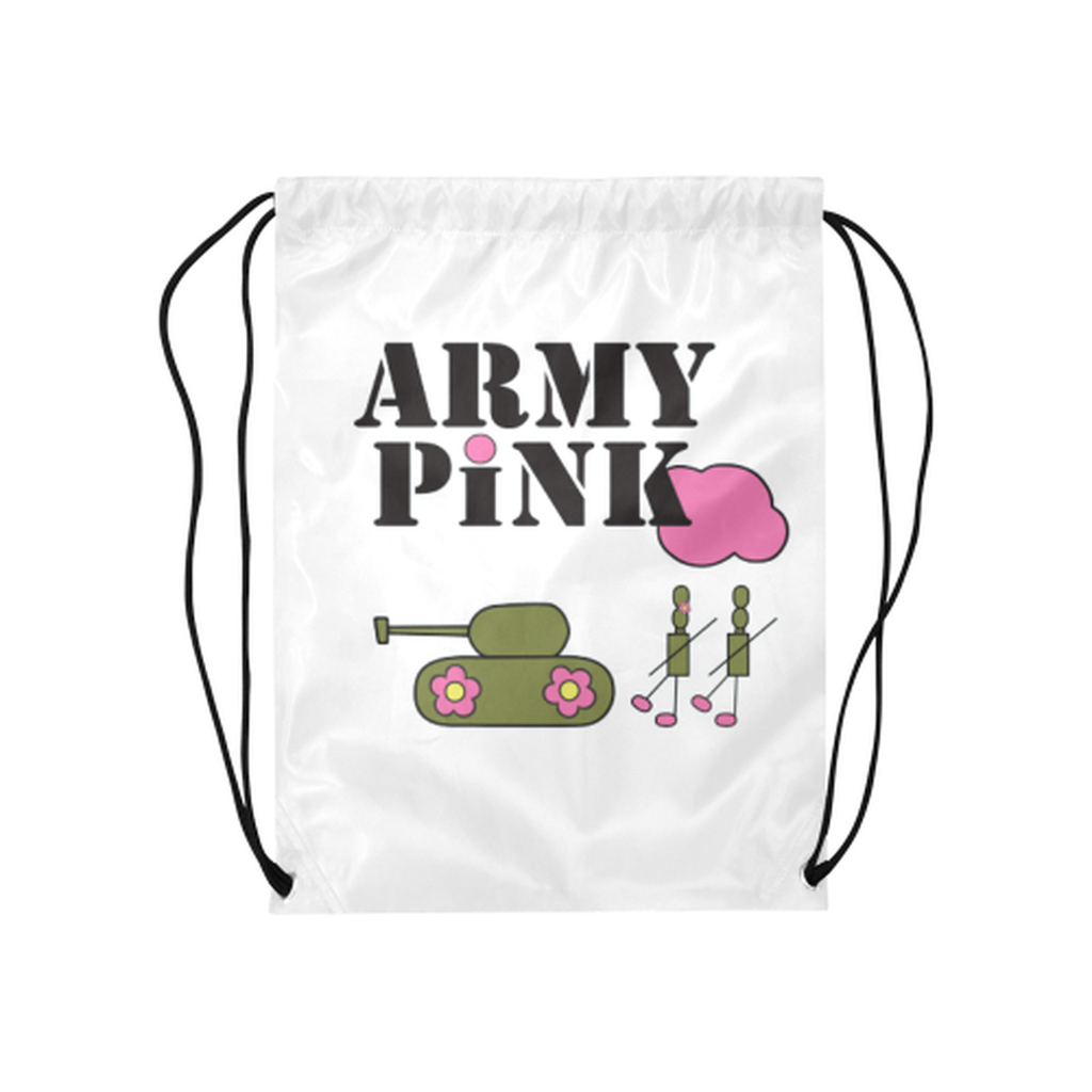 White logo Drawstring Bag for  at ARMY PINK