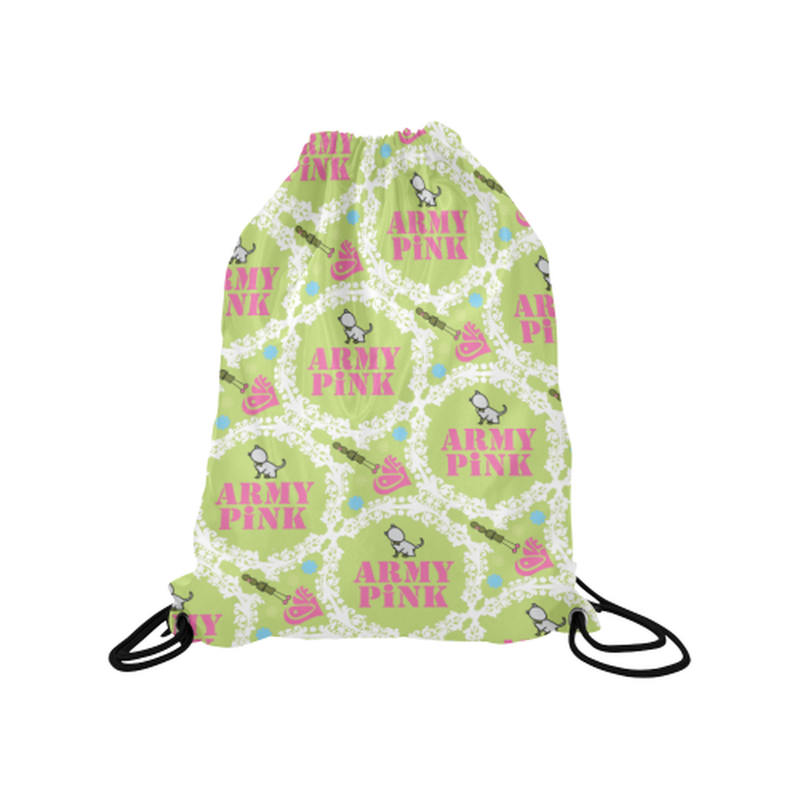 Green white wreath Drawstring Bag for  at ARMY PINK