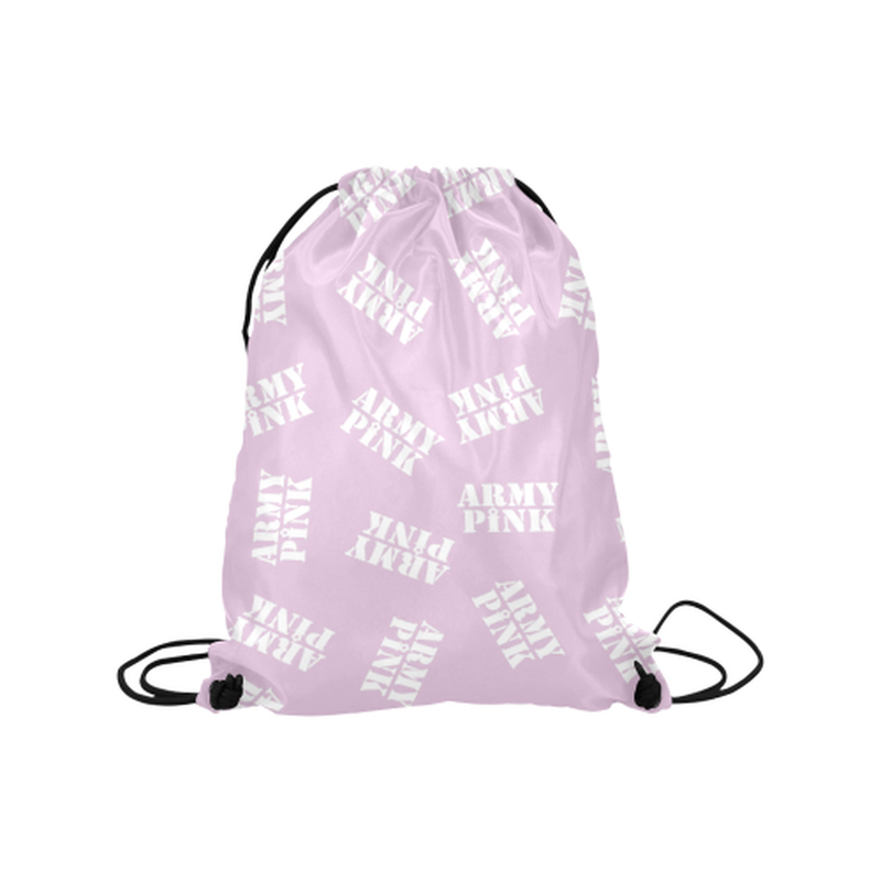 "White stamps on violet Medium Drawstring Bag Model 1604 (Twin Sides) 13.8""(W) * 18.1""(H) for  at ARMY PINK"