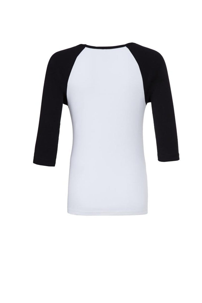 Black and white Raglan Sleeve top with black tilted tank graphic for 34.00 at ARMY PINK