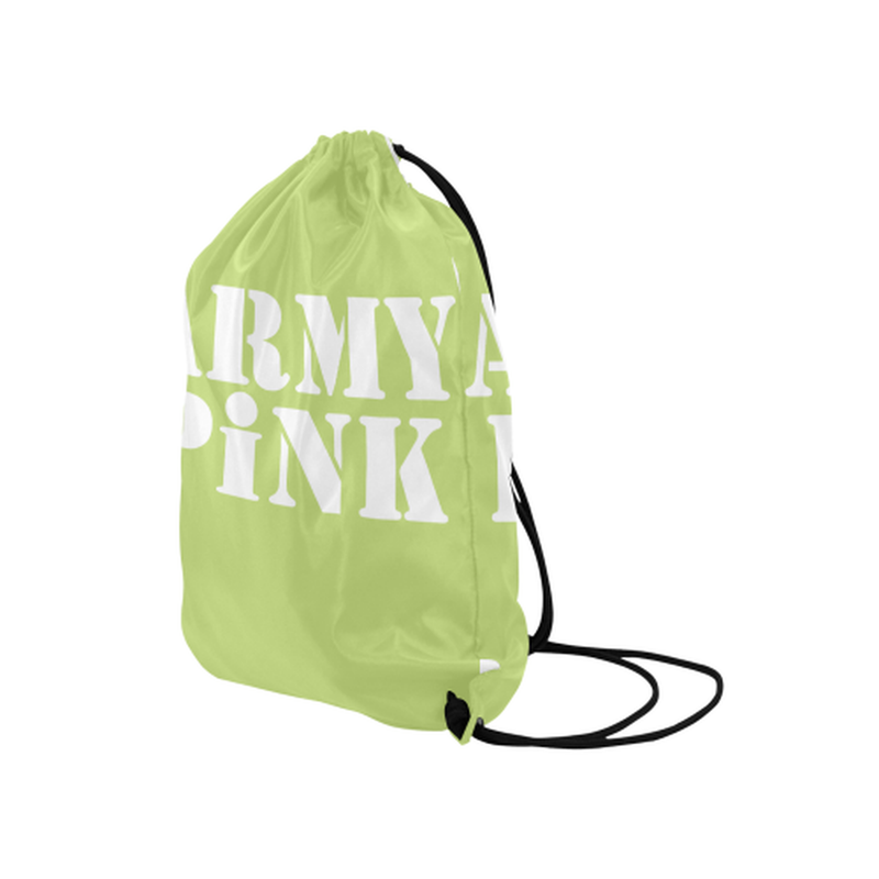 Army Pink in White on Green Drawstring Bag for  at ARMY PINK