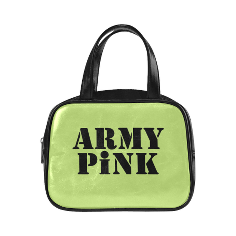 Army Pink on green Leather Top Handle Mini Handbag for  at ARMY PINK