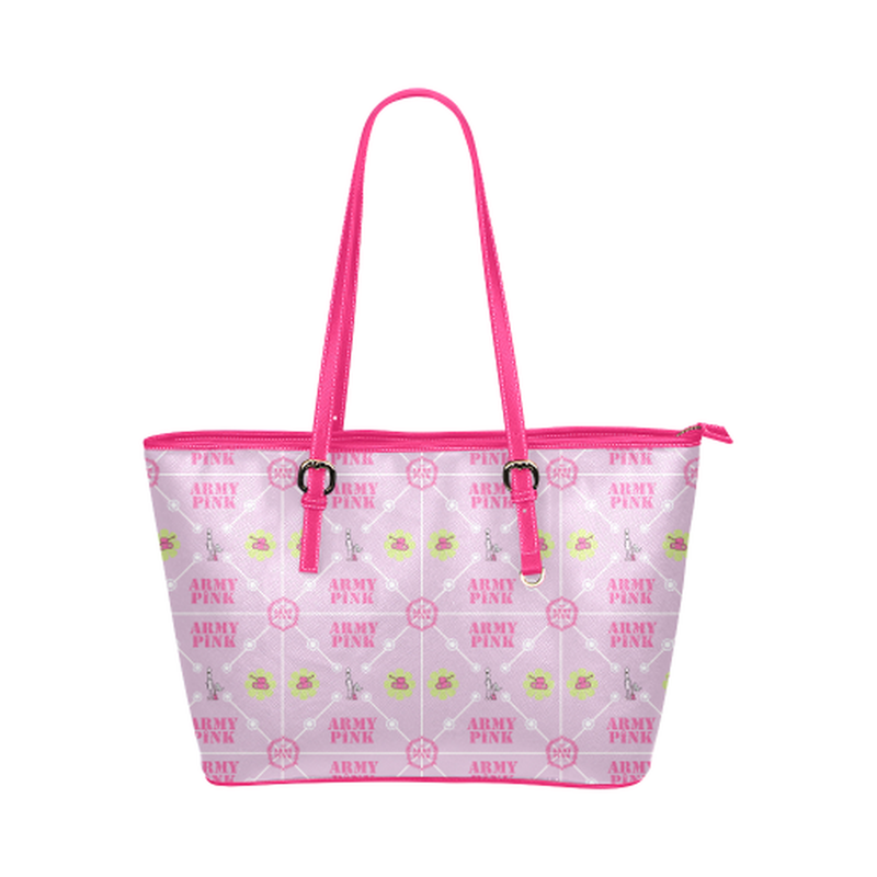 Diamond logo pattern on violet Leather Tote Bag/Small (Model 1651) ${product-type) ${shop-name)