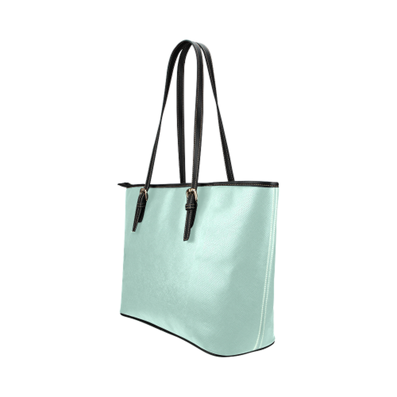 Logo on mint Leather Tote Bag/Small (Model 1651) for  at ARMY PINK