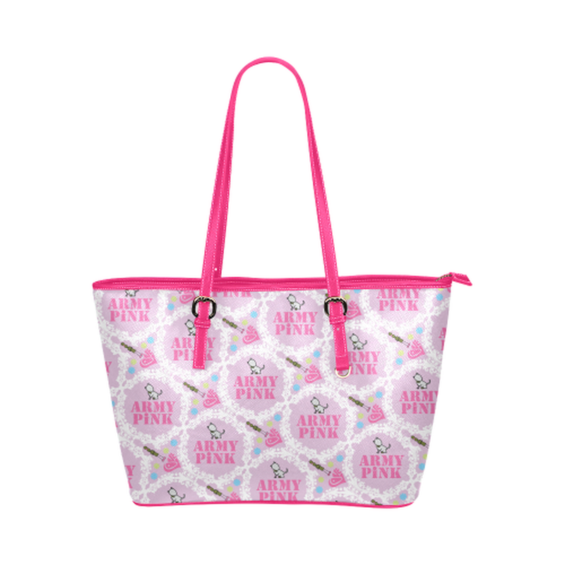 Pink white wreath leather Tote Bag ${product-type) ${shop-name)