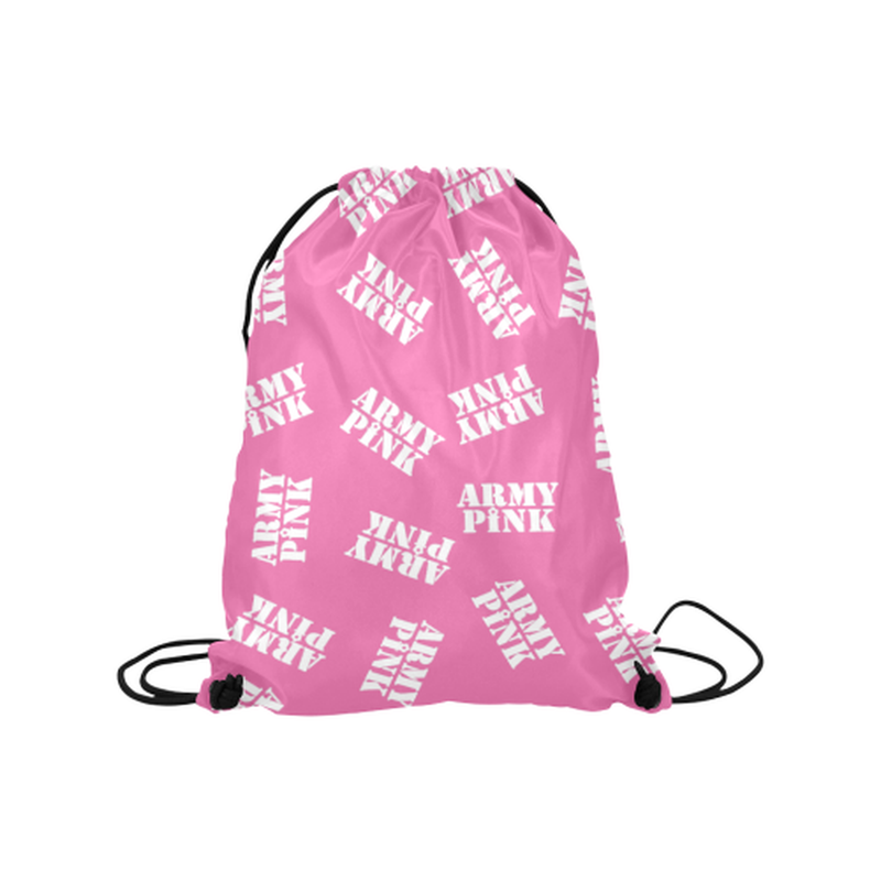 "White stamps on pink Medium Drawstring Bag Model 1604 (Twin Sides) 13.8""(W) * 18.1""(H) for  at ARMY PINK"