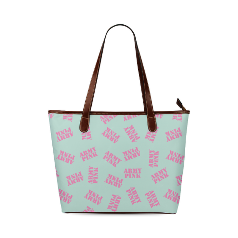 Pink stamps on mint Shoulder Tote Bag (Model 1646) for  at ARMY PINK