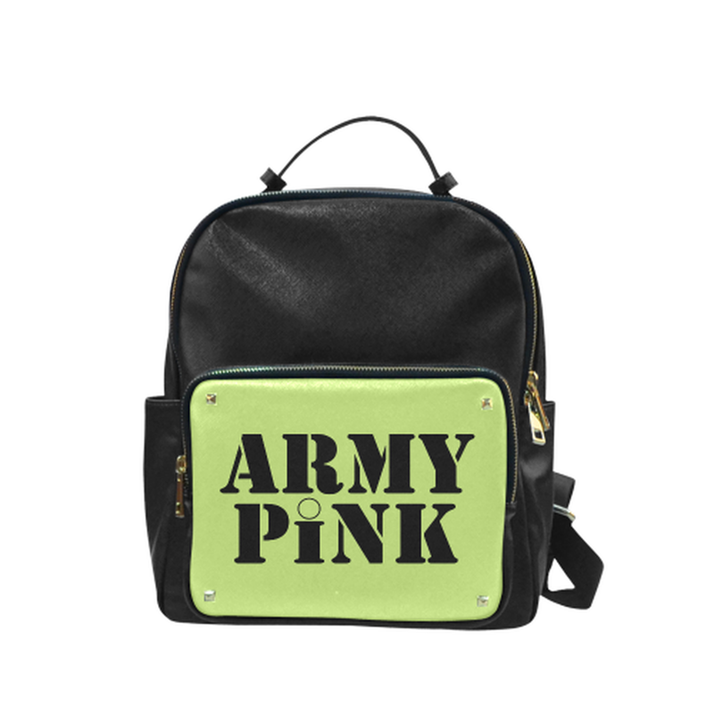 Green Army Pink small Leather Backpack ${product-type) ${shop-name)