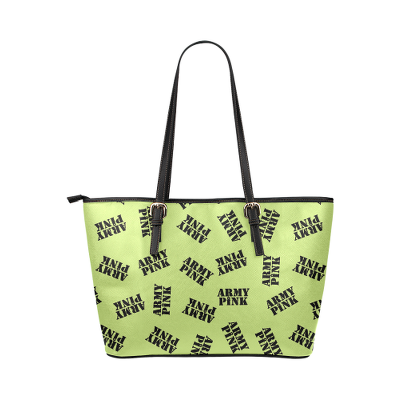 Green black stamp leather Tote Bag ${product-type) ${shop-name)
