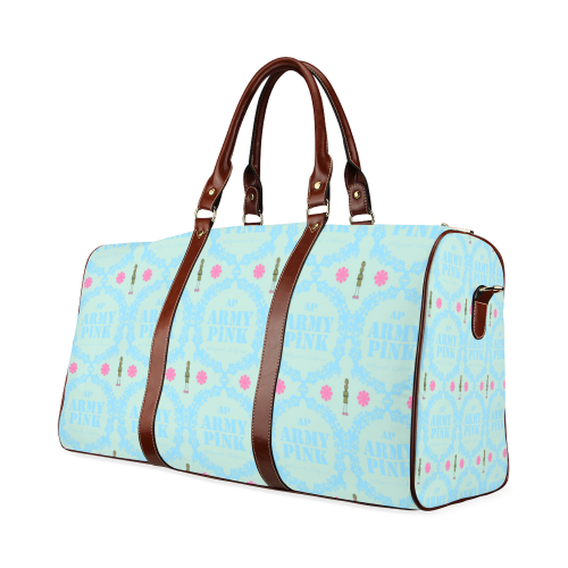 large travel bag blue wreaths on mint Waterproof Travel Bag/Large (Model 1639) for  at ARMY PINK