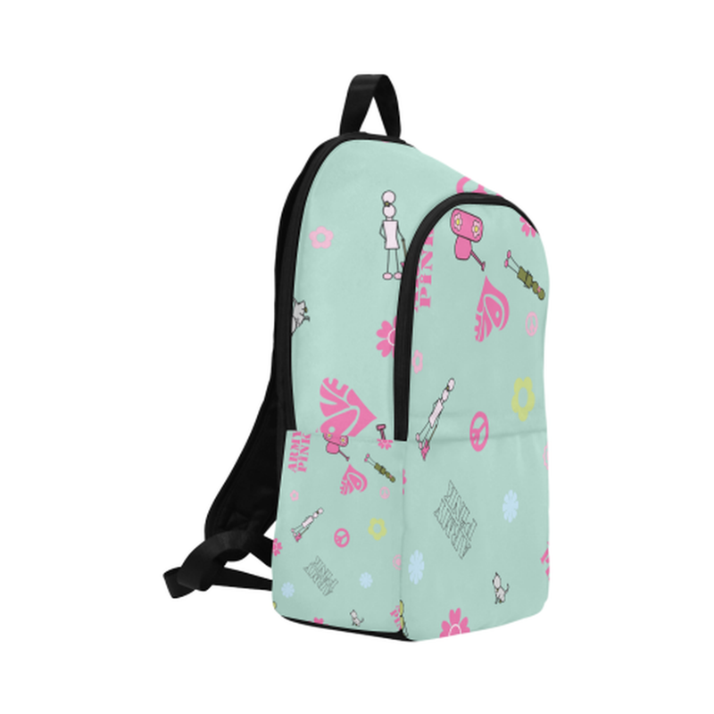 Logo print on mint Fabric Backpack for Adult (Model 1659) for  at ARMY PINK