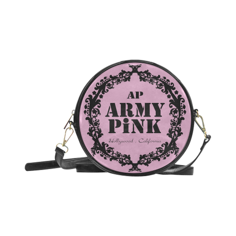 Black wreath on pink Round Sling Bag (Model 1647) for  at ARMY PINK