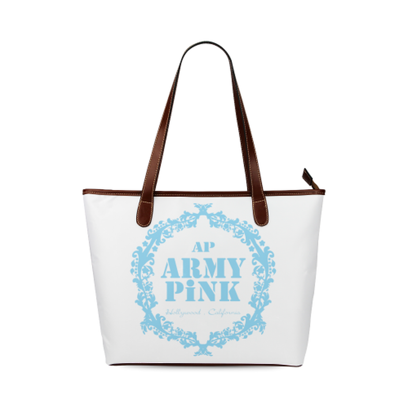 Blue wreath on white Shoulder Tote Bag (Model 1646) for  at ARMY PINK