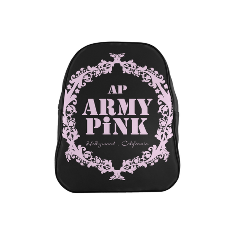 Pastel pink on black School Backpack (Model 1601)(Medium) for  at ARMY PINK