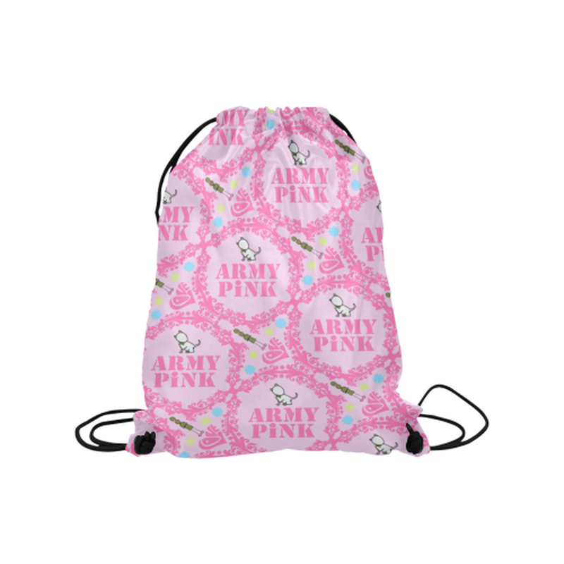"Pink wreaths on pink Medium Drawstring Bag Model 1604 (Twin Sides) 13.8""(W) * 18.1""(H) for  at ARMY PINK"