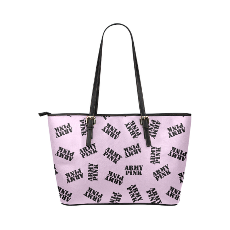 Black stamps on violet Leather Tote Bag/Small (Model 1651) for  at ARMY PINK