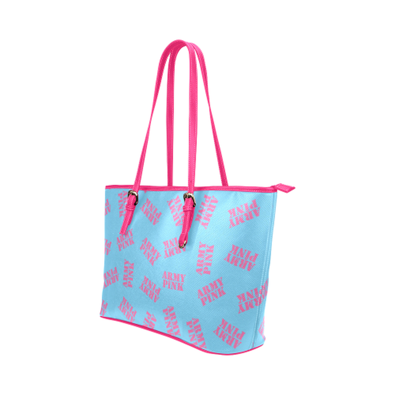 Pink stamps on bright blue Leather Tote Bag/Small (Model 1651) for  at ARMY PINK