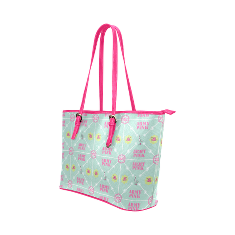 Diamond logo pattern on mint Leather Tote Bag/Small (Model 1651) for  at ARMY PINK