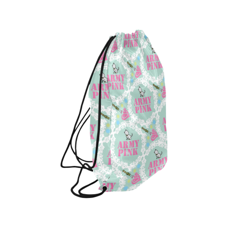"White wreaths on mint Medium Drawstring Bag Model 1604 (Twin Sides) 13.8""(W) * 18.1""(H) for  at ARMY PINK"