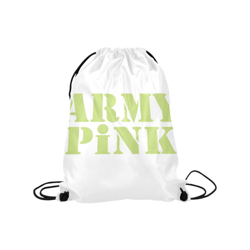 "Green Army Pink on white Medium Drawstring Bag Model 1604 (Twin Sides) 13.8""(W) * 18.1""(H) for  at ARMY PINK"