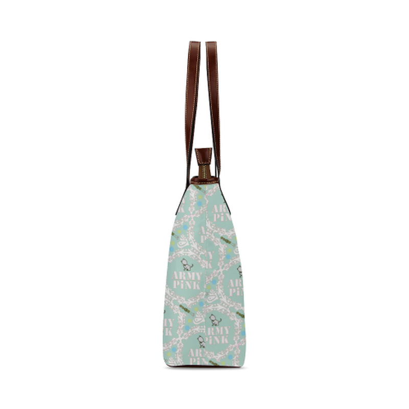 White wreath on mint Shoulder Tote Bag (Model 1646) ${product-type) ${shop-name)