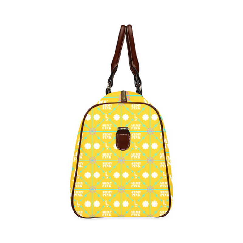small travel bag diamond aop on yellow Waterproof Travel Bag/Small (Model 1639) for  at ARMY PINK