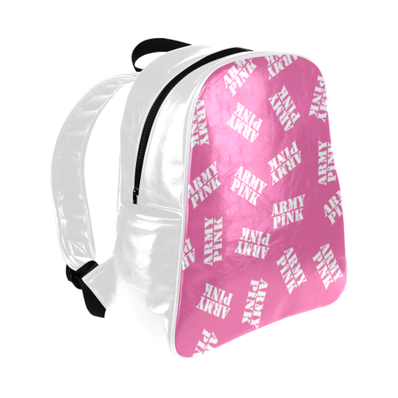 White stamps on pink Multi-Pockets Backpack ${product-type) ${shop-name)